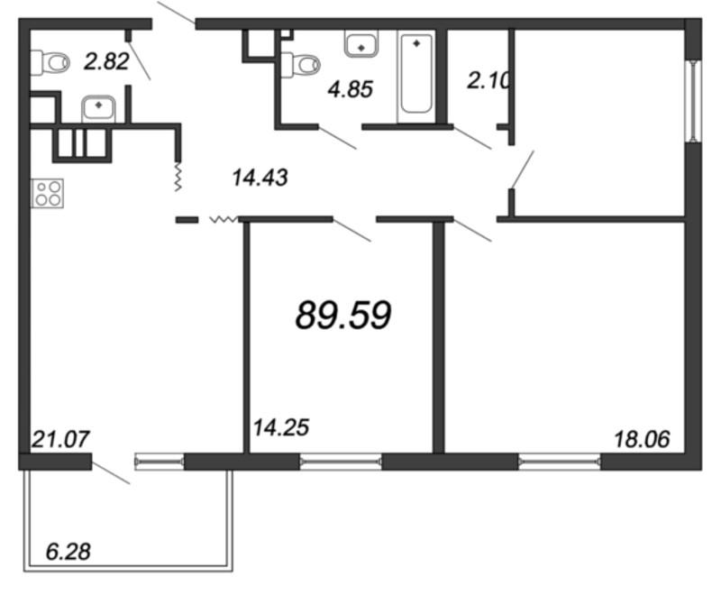 Планировка Трёхкомнатная квартира площадью 89.59 кв.м в ЖК «Две эпохи»