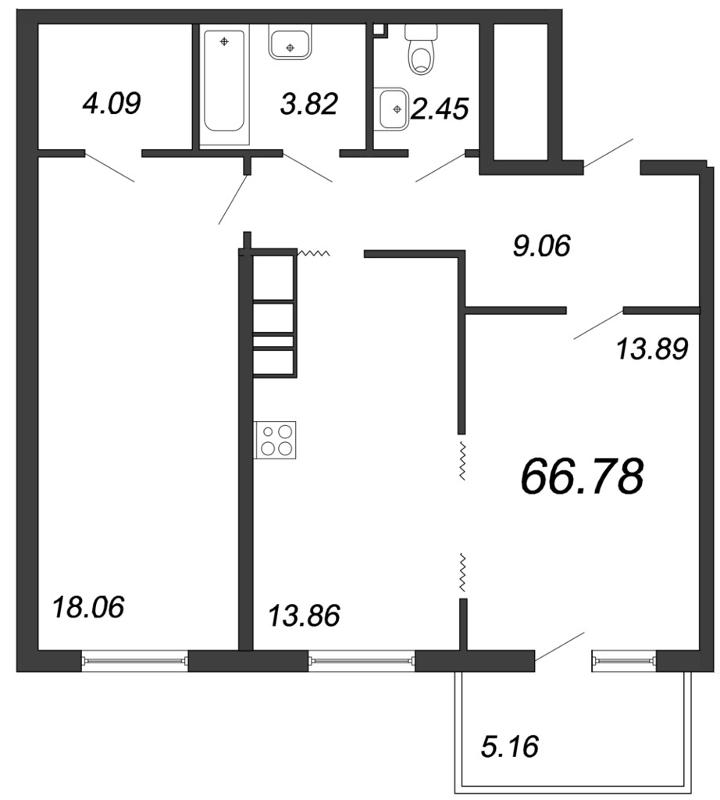 Планировка Двухкомнатная квартира площадью 66.78 кв.м в ЖК «Две эпохи»