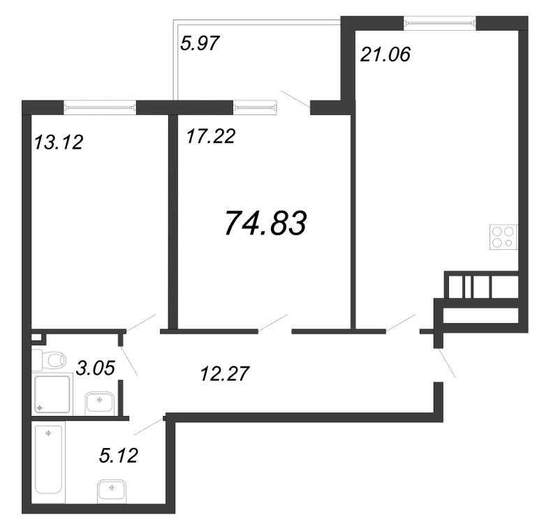 Планировка Трёхкомнатная квартира площадью 74.83 кв.м в ЖК «Две эпохи»