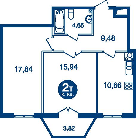 Планировка Двухкомнатная квартира площадью 59.72 кв.м в ЖК «Жилой комплекс «Две Эпохи»»
