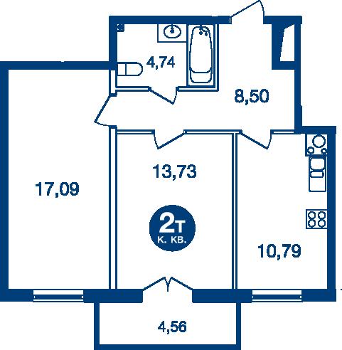 Планировка Двухкомнатная квартира площадью 56.22 кв.м в ЖК «Жилой комплекс «Две Эпохи»»