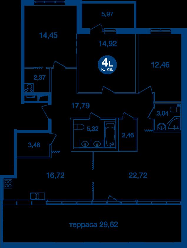 Планировка Четырёхкомнатная квартира площадью 127.6 кв.м в ЖК «Жилой комплекс «Две Эпохи»»