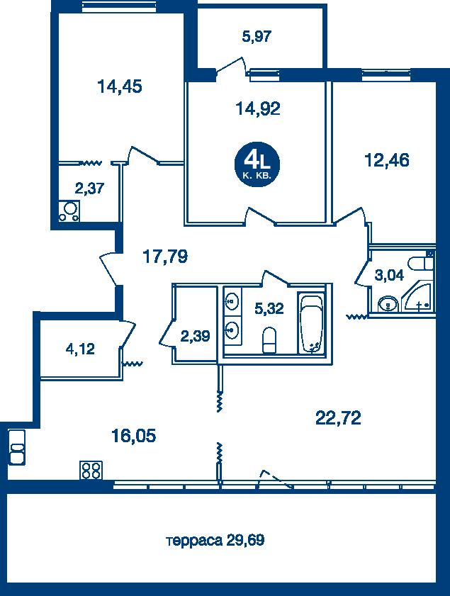Планировка Четырёхкомнатная квартира площадью 127.53 кв.м в ЖК «Жилой комплекс «Две Эпохи»»