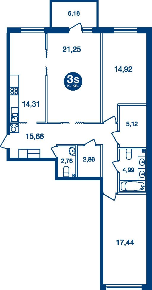 Планировка Трёхкомнатная квартира площадью 100.85 кв.м в ЖК «Жилой комплекс «Две Эпохи»»