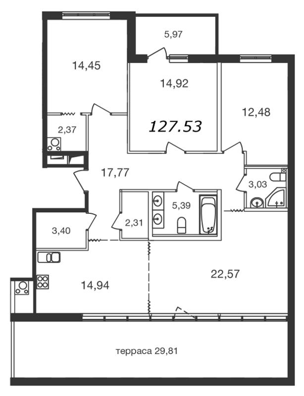 Планировка Четырёхкомнатная квартира площадью 127.53 кв.м в ЖК «Две эпохи»