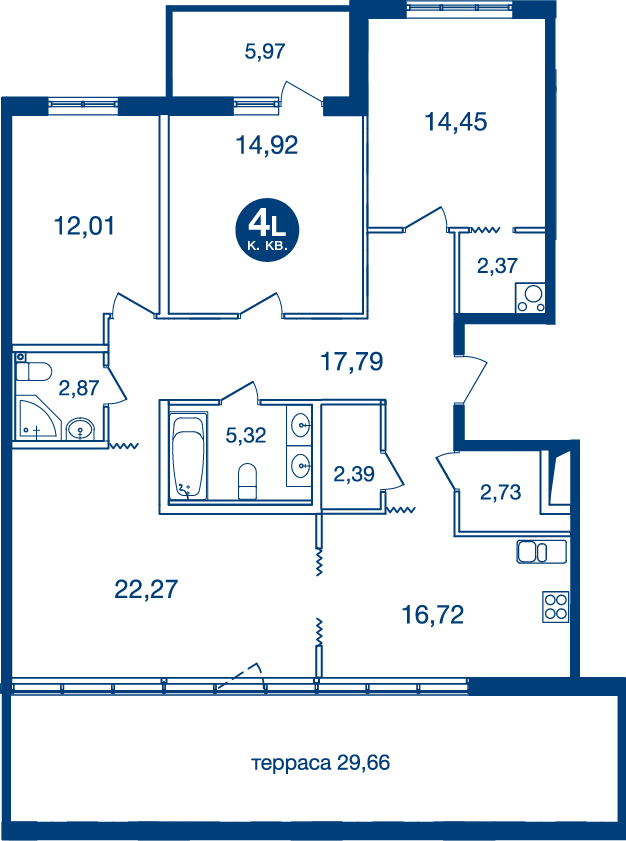 Планировка Четырёхкомнатная квартира площадью 125.72 кв.м в ЖК «Жилой комплекс «Две Эпохи»»