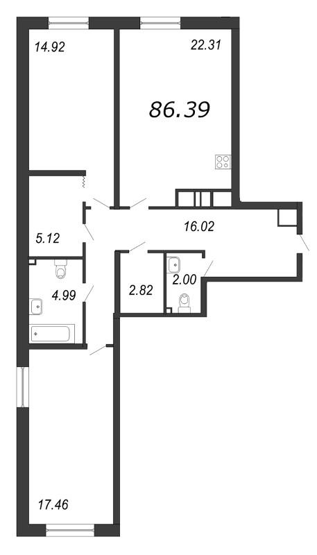 Планировка Двухкомнатная квартира площадью 86.42 кв.м в ЖК «Две эпохи»