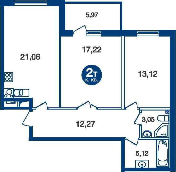 Планировка Двухкомнатная квартира площадью 74.83 кв.м в ЖК «Жилой комплекс «Две Эпохи»»