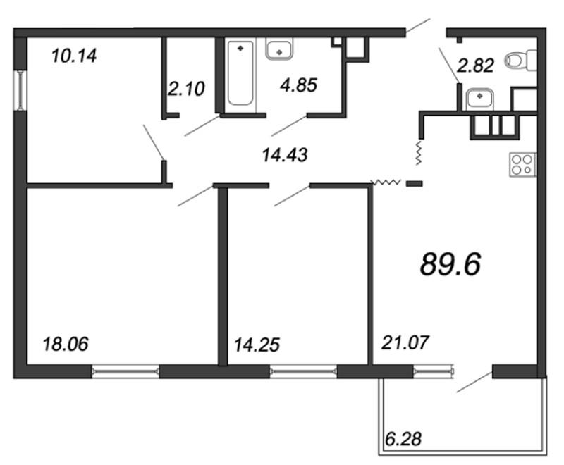 Планировка Трёхкомнатная квартира площадью 89.6 кв.м в ЖК «Две эпохи»