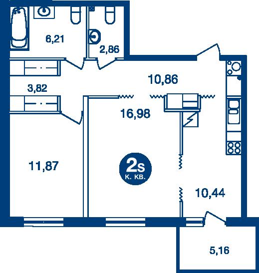 Планировка Двухкомнатная квартира площадью 64.58 кв.м в ЖК «Жилой комплекс «Две Эпохи»»