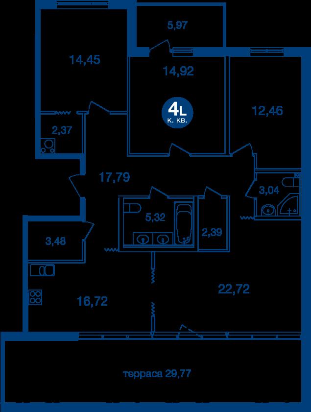 Планировка Четырёхкомнатная квартира площадью 127.64 кв.м в ЖК «Жилой комплекс «Две Эпохи»»